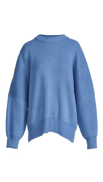 Free People Easy Street Tunic Sweater in blue