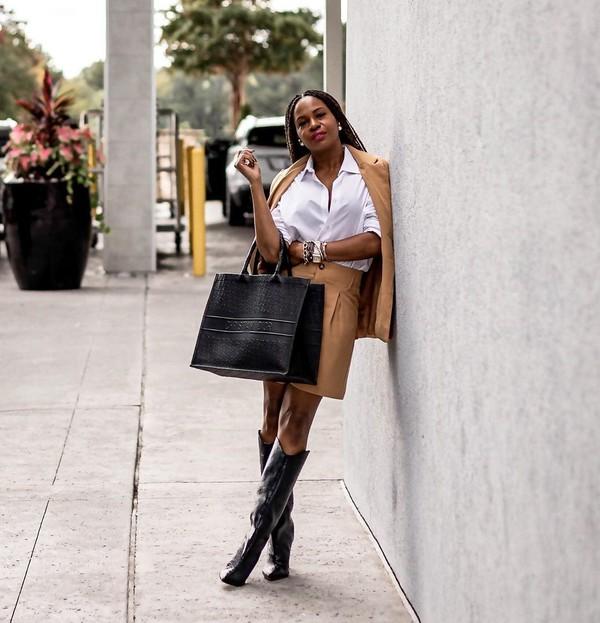 top white shirt blazer mini skirt black boots knee high boots black bag