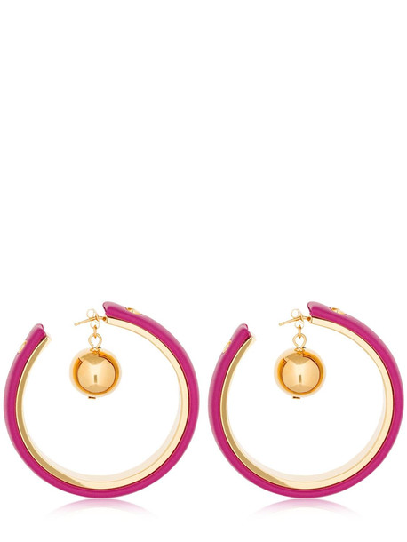 MARNI Leather Covered Hoop Earrings W/ Charm in gold / fuchsia