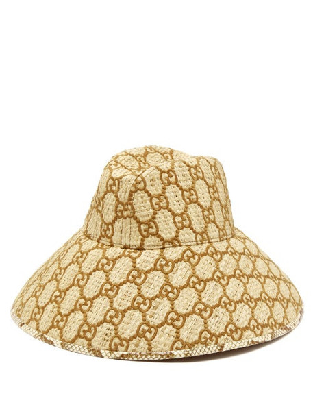 Gucci - Snakeskin Trimmed Gg Embroidered Raffia Hat - Womens - Brown