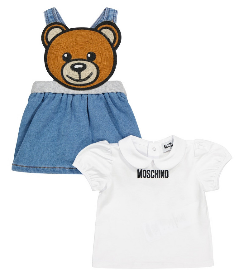 Moschino Kids Baby T-shirt and pinafore dress set in blue