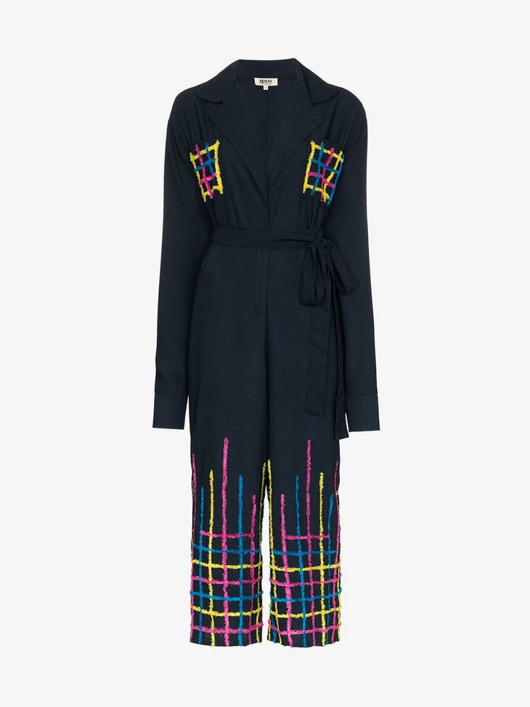 All Things Mochi amelia embroidered jumpsuit in blue