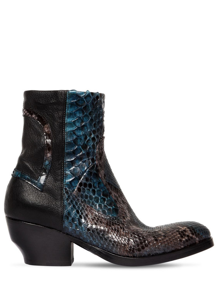 ROCCO P. 50mm Leather & Python Skin Ankle Boots in black / blue