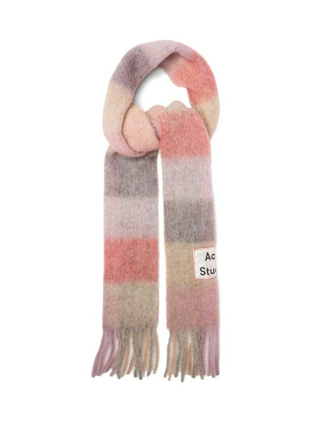 Acne Studios - Vally Checked Scarf - Womens - Pink