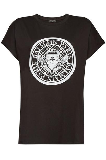 Balmain Printed Cotton T-Shirt in black