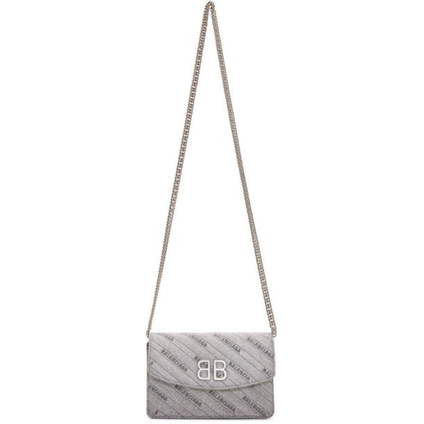 Balenciaga Silver Shimmer BB Wallet On Chain Bag