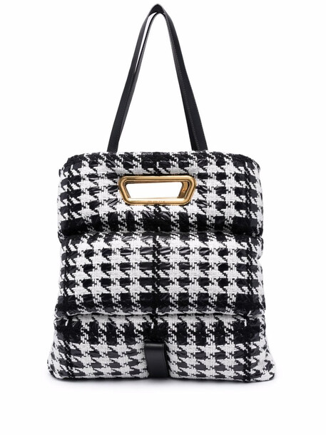 Moncler houndstooth-tweed padded tote bag - White