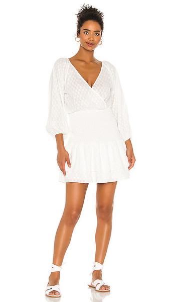 Suboo Claudia Shirred Mini Dress in White in ivory