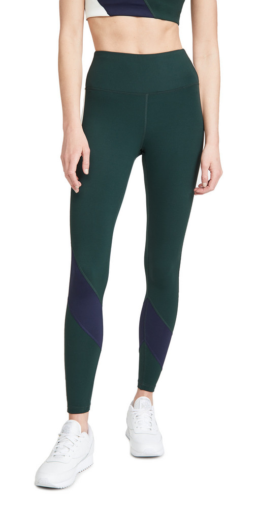 Tory Sport Super High Rise Weightless Colorblock Leggings in navy