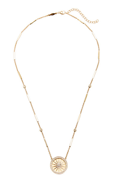 Jacquie Aiche 14K Yellow Gold Pave Diamond Round Compass Necklace