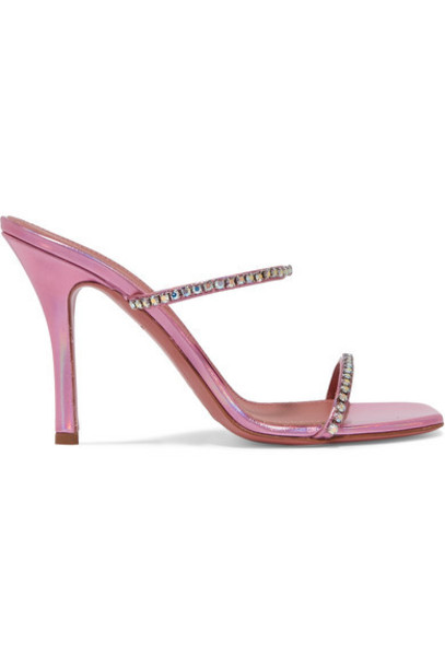 Amina Muaddi - Gilda Crystal-embellished Metallic Leather Sandals - Pink