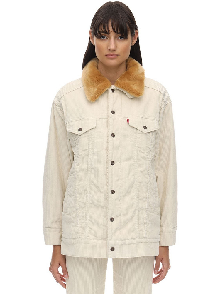 LEVI'S RED TAB Oversize Curd Fur Jacket in ivory
