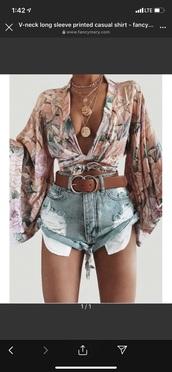 shirt,floral wrap v neck flare sleevee