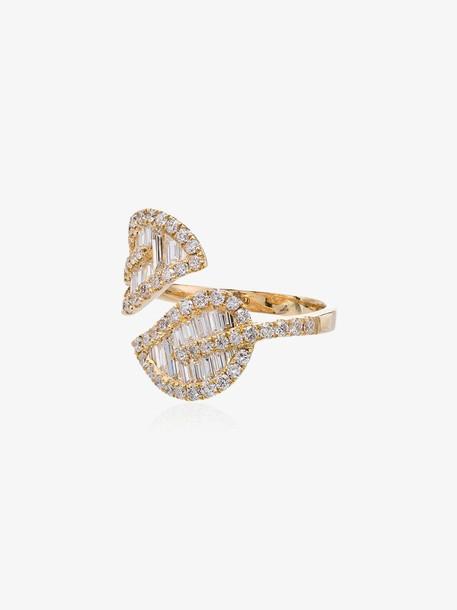 Anita Ko yellow gold leaf diamond wrap ring