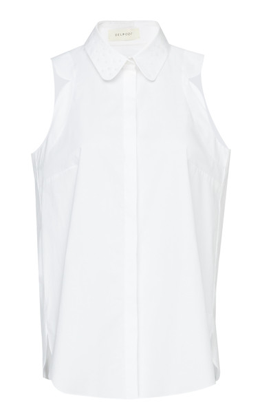 DELPOZO Cotton-Poplin Top Size: 40 in white