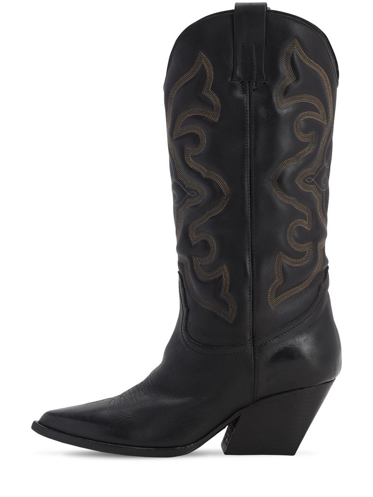 ELENA IACHI 70mm Leather Tall Cowboy Boots in black
