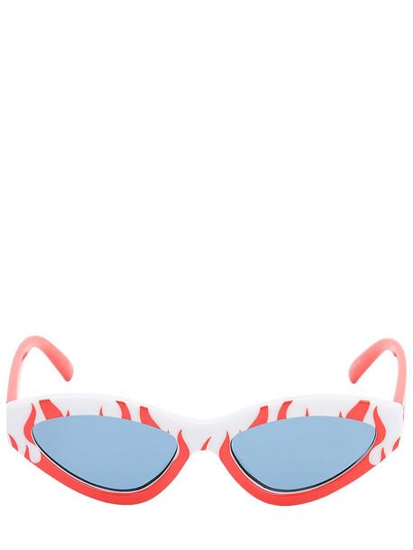LE SPECS Synthcat Flame Cat Eye Sunglasses in orange / white