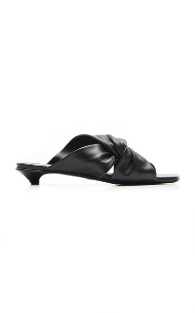 Proenza Schouler Knotted Leather Mules Size: 35 in black