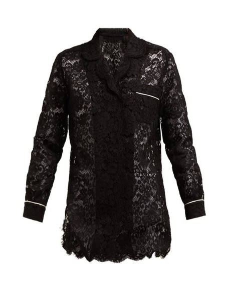 Dolce & Gabbana - Floral Lace Piped Pyjama Top - Womens - Black