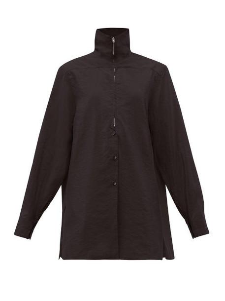 Lemaire - Zipped Silk Blend Shirt - Womens - Black