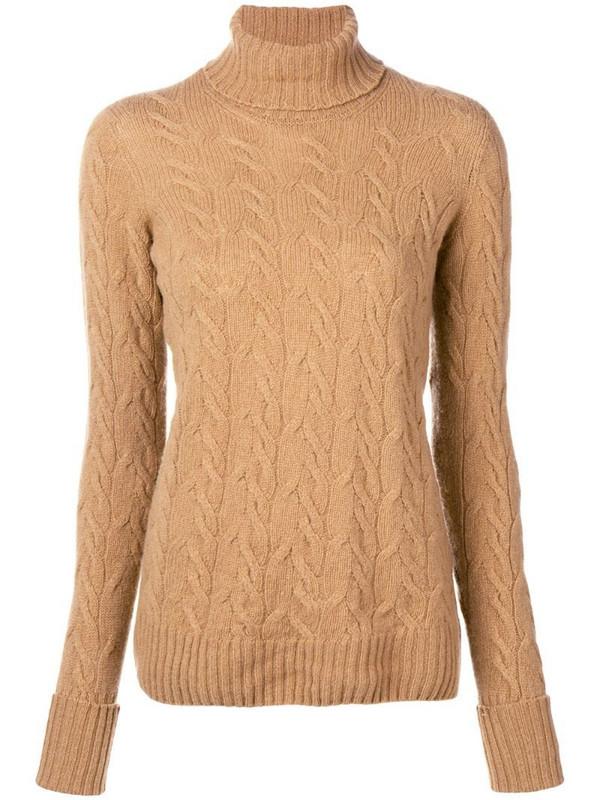 Drumohr cable knit turtle neck sweater in neutrals