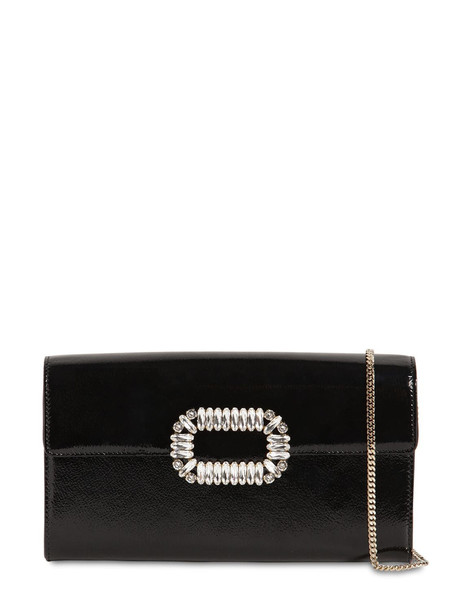 ROGER VIVIER Sexy Choc Crystals Patent Leather Clutch in black