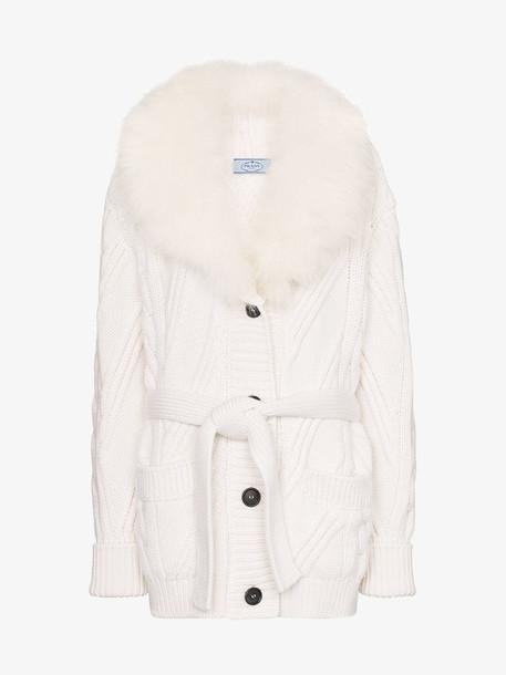 Prada Cashmere fur trim cardigan in white