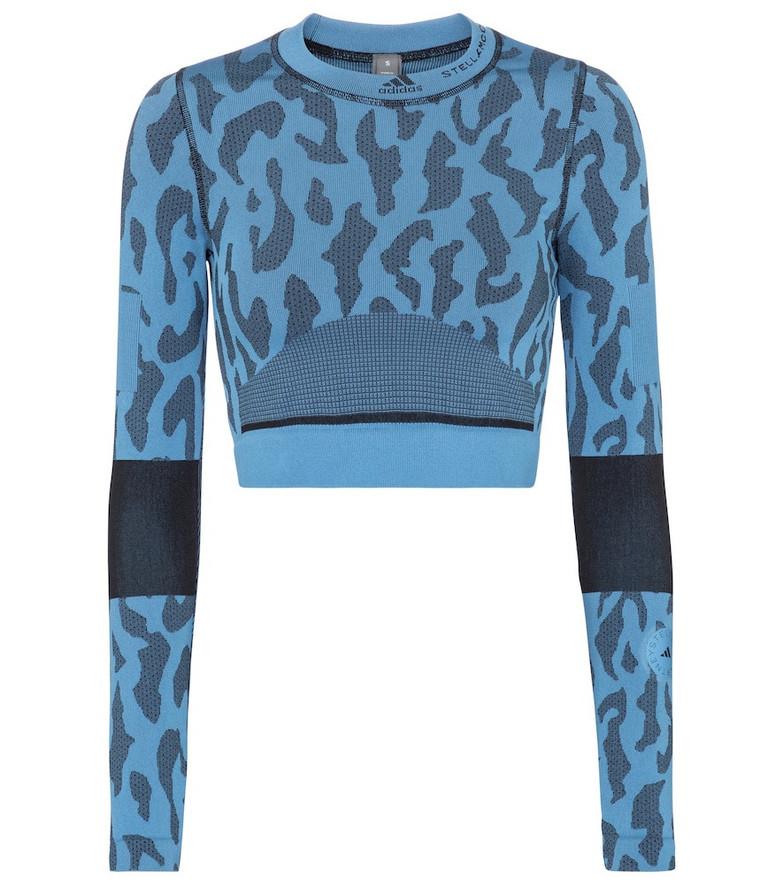 Adidas by Stella McCartney Truepurpose printed crop top in blue