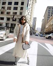 jacket,teddy jacket,white jacket,snake print,ankle boots,white skirt,midi skirt,black and white,handbag,white top,sunglasses