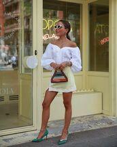 top,white top,off the shoulder top,crop tops,mini skirt,pumps,handbag