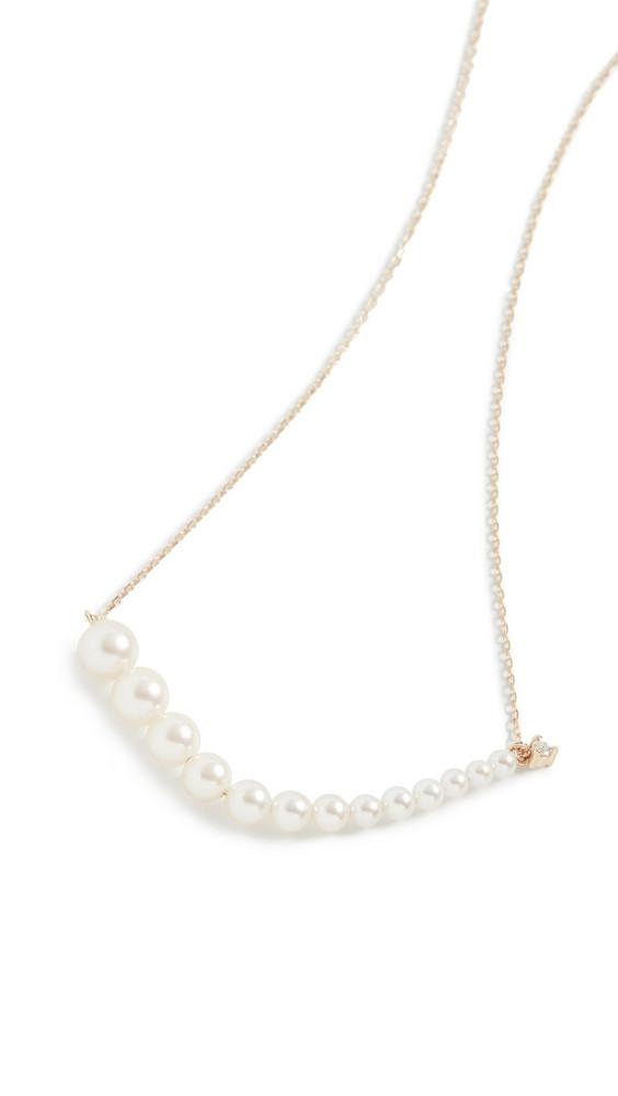 Mizuki Graduated Pearl Necklace with Diamond in gold