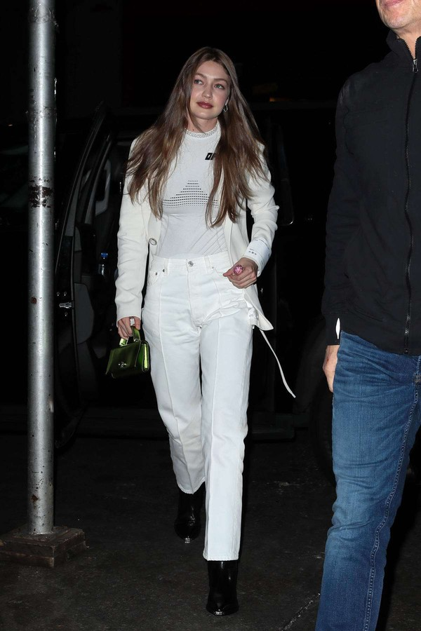 top gigi hadid model off-duty pants jacket all white everything