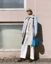 coat,leather,heel boots,white pants,pleated,wide-leg pants,blue bag,white sweater,turtleneck sweater