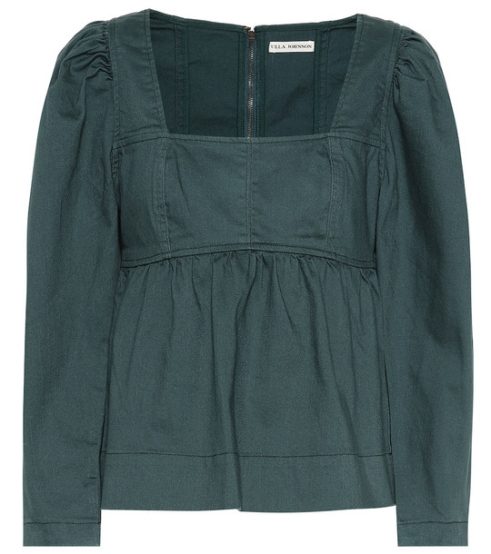 Ulla Johnson Malie denim blouse in green