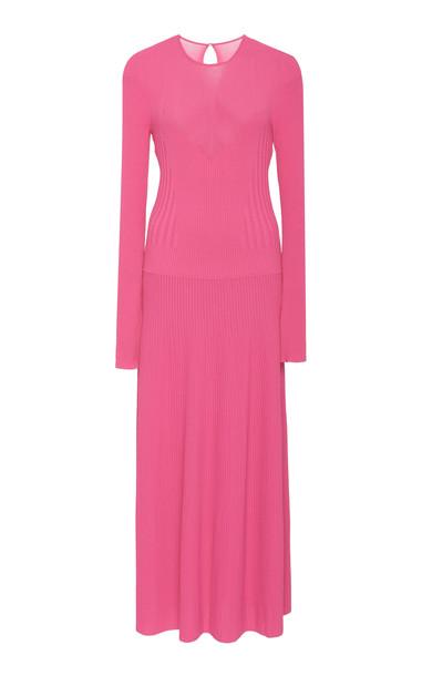 Carolina Herrera Stretch-Knit Midi Dress in pink