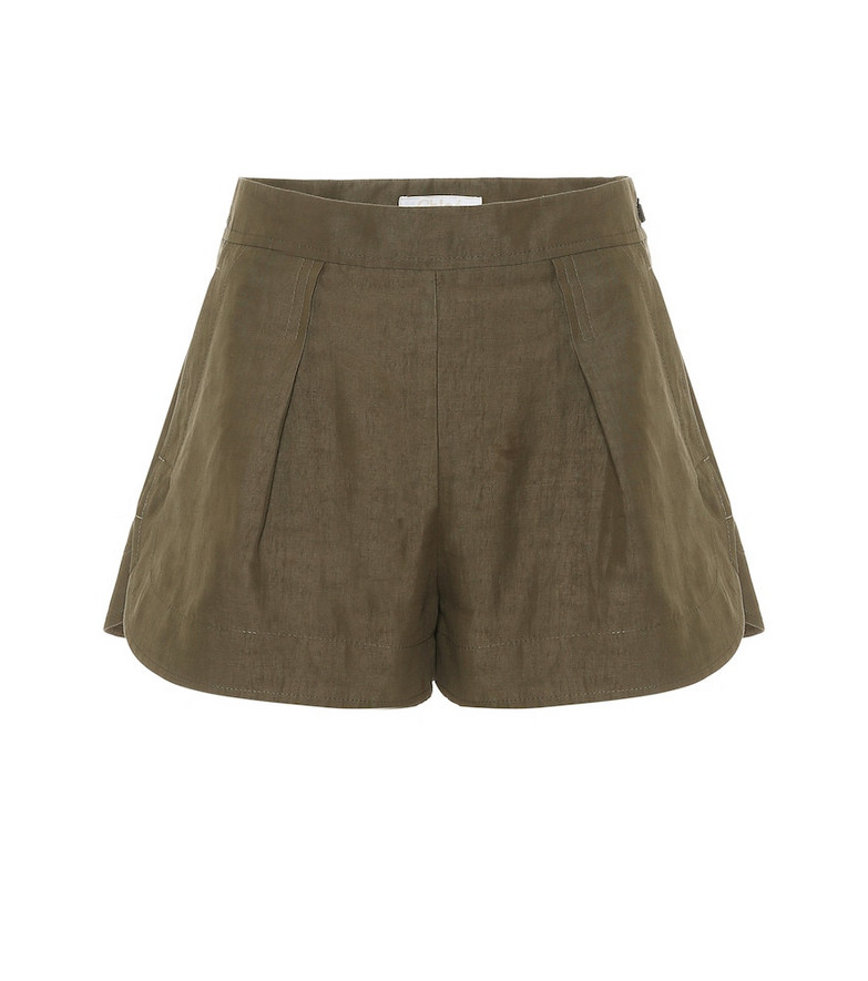 Chloé Linen and cotton shorts in green