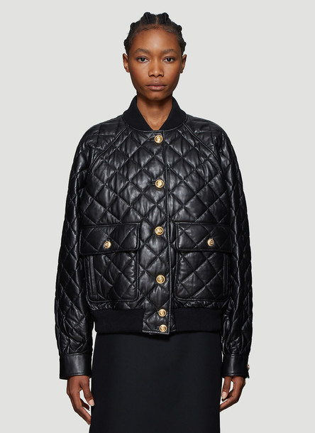 Gucci Quilted Leather Bomber Jacket in Black size IT - 42