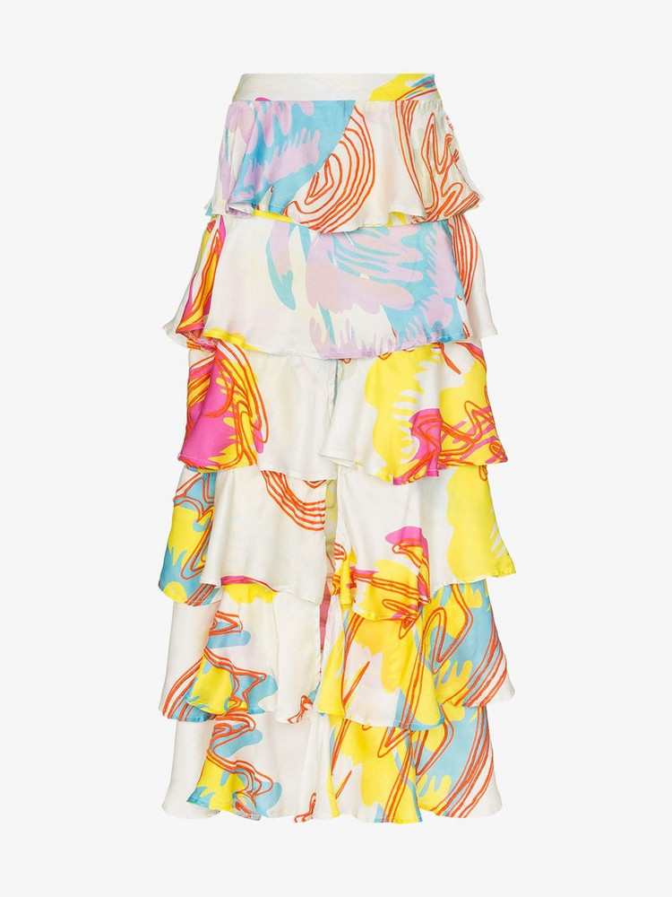 All Things Mochi Perla Tiered Ruffled Maxi Skirt in white