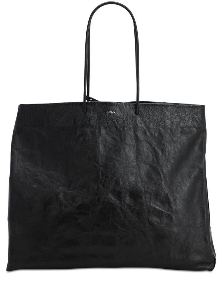 MEDEA Venti Busted Leather Shoulder Bag in black
