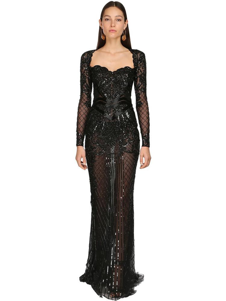 ZUHAIR MURAD Embellished Tulle Long Dress in black