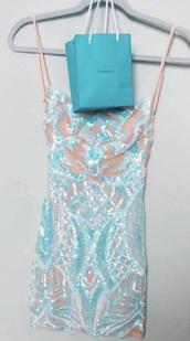 dress,sparkle,blue,blue dress,nude dress,blue sequins,mini dress,vsco,teal,glitter dress,cute,cute dress,silver,white,nude,turquoise dress,tiffany & co,trendy,beige blue white glitter y,short dress,sequins,blue and silver party dress