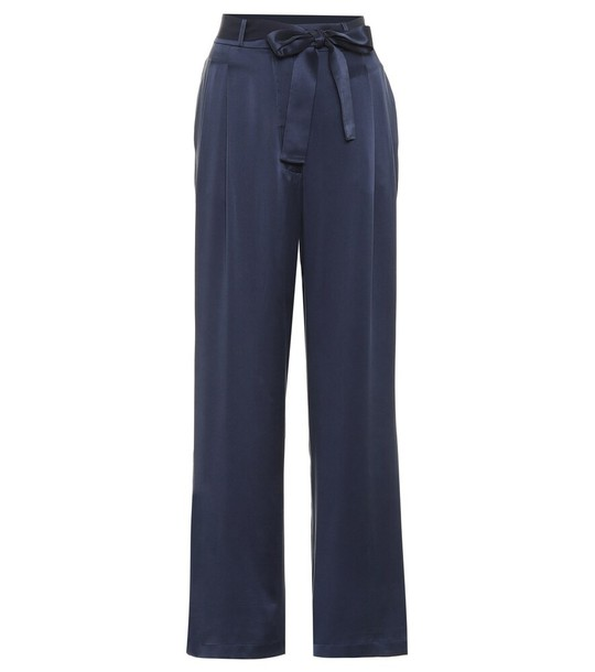 Asceno Rivello high-rise silk pants in blue