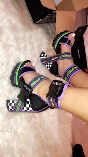 shoes,motorsport purple black platform