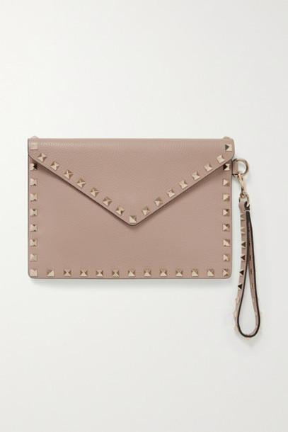 Valentino - Valentino Garavani Rockstud Textured-leather Pouch - Blush