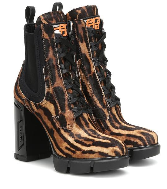 Prada Printed calf-hair ankle boots in brown