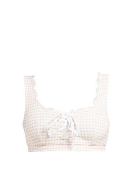 Marysia - Palm Springs Gingham Bikini Top - Womens - Light Pink