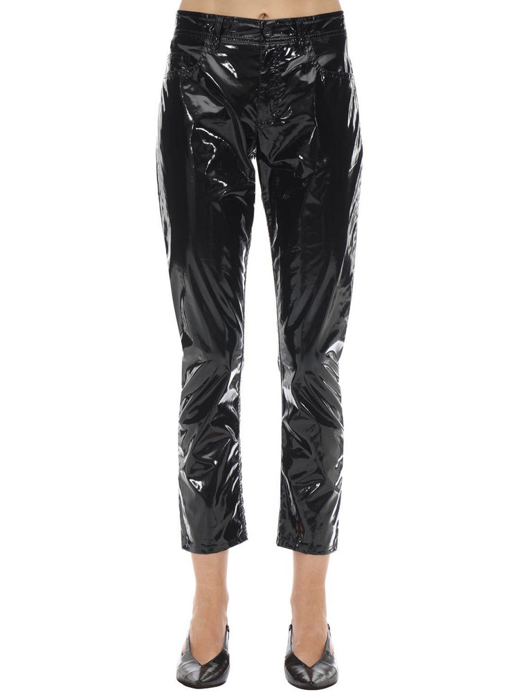 N°21 Straight Leg Coated Cotton Pants in black