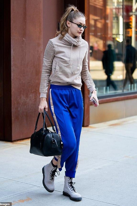 pants sweatpants blue gigi hadid model off-duty celebrity