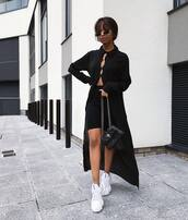 shoes,white sneakers,mini skirt,black skirt,black bag,black cardigan