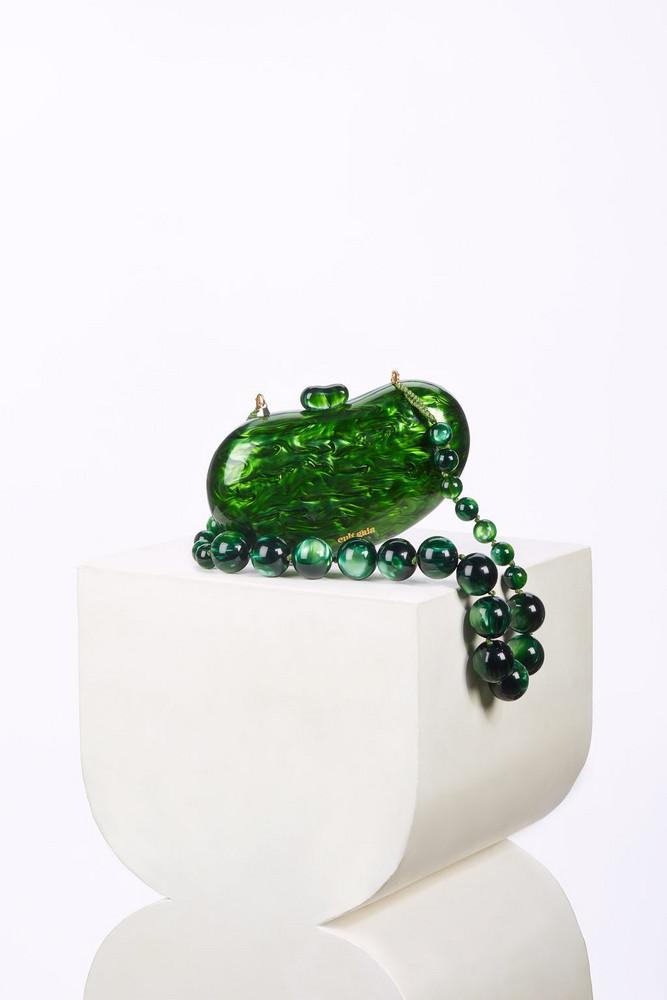 Cult Gaia Tallulah Bean Shoulder Bag - Malachite                                                                                               $288.00